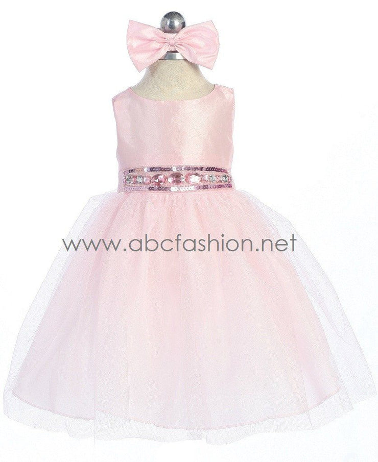 Pink Baby Girl Dress with Tulle Skirt - 10 Colors-Girls Formal Dresses-ABC Fashion