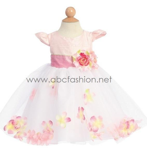 Pink Baby Girl Silk Dress with Flower Tulle Skirt-Girls Formal Dresses-ABC Fashion