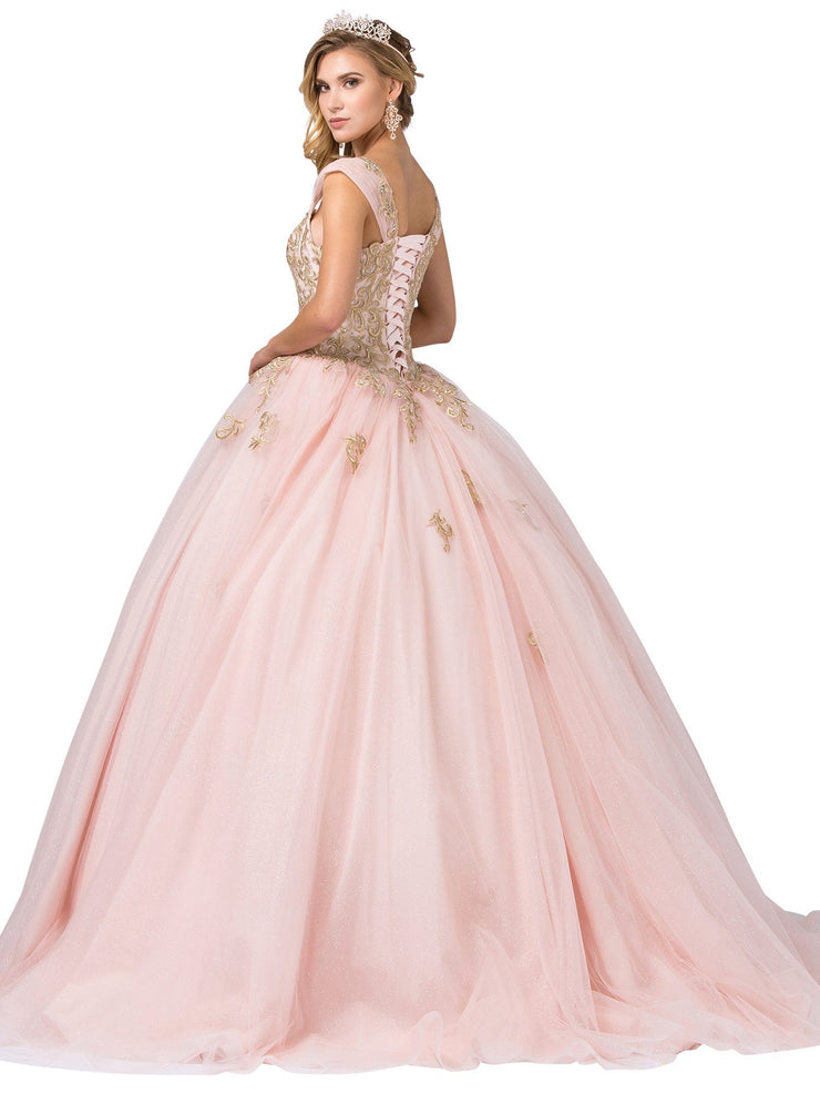 Pink Beaded Sweetheart Cap Sleeve Ball Gown by Dancing Queen 1381
