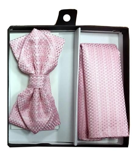 Pink Bow Tie with Geometric Squares and Pocket Square (Pointed Tip)-Men's Bow Ties-ABC Fashion