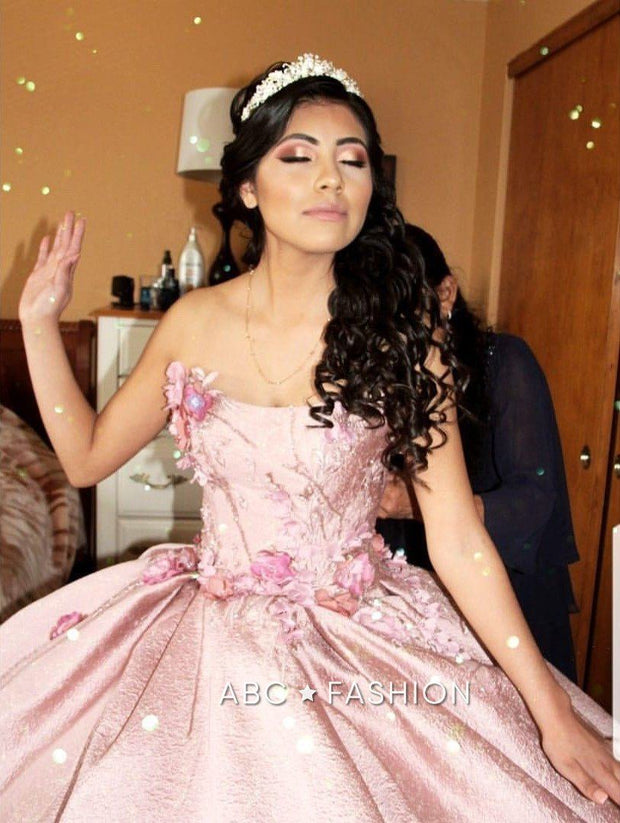 Pink V-Neck Quinceanera Dress by Ragazza DV14-514