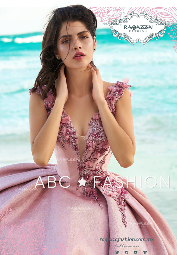 Pink Floral V-Neck Quinceanera Dress by Ragazza Fashion DV14-514-Quinceanera Dresses-ABC Fashion