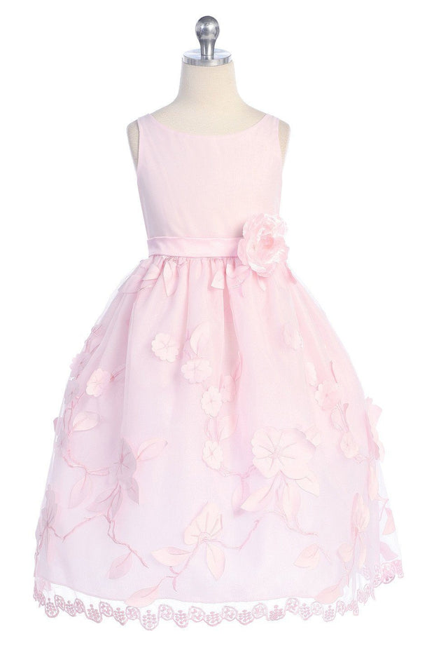 Pink Flower Girl Dresses with Floral Embroidery - 4 Colors-Girls Formal Dresses-ABC Fashion