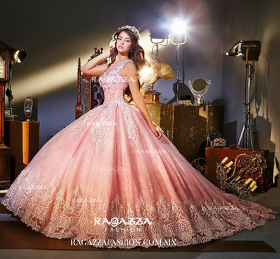 Pink Illusion Quinceanera Dress by Ragazza Fashion Style V73-373-Quinceanera Dresses-ABC Fashion