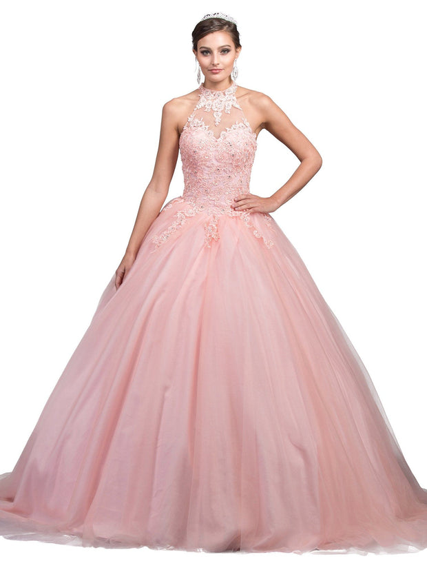 Pink Lace Halter Ball Gown by Dancing Queen 1264-Quinceanera Dresses-ABC Fashion
