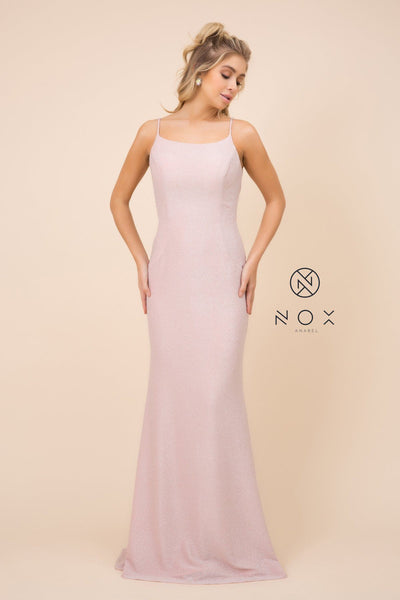 Pink Long Glitter Dress with Cowl Back by Nox Anabel C307