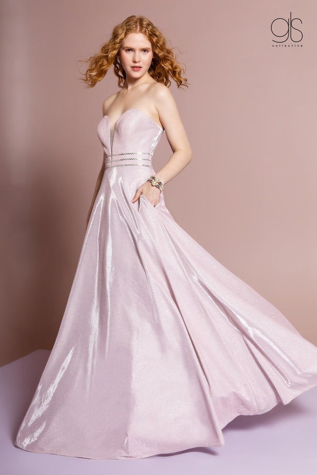 Pink Long Strapless Glitter A-Line Dress by Elizabeth K GL2674-Long Formal Dresses-ABC Fashion