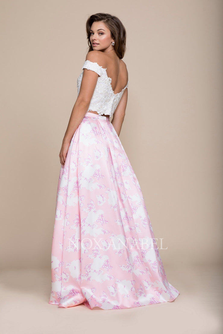 Pink Long Two-Piece Floral Print Dress by Nox Anabel 8312-Long Formal Dresses-ABC Fashion