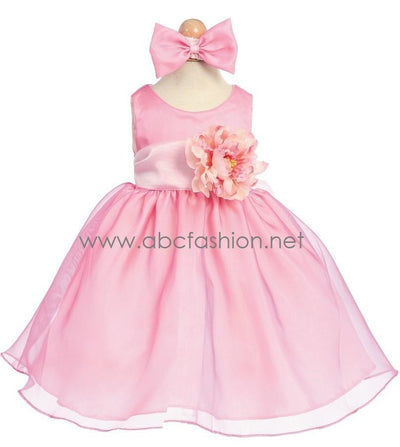 Pink Organza Baby Girl Dress with Flower Detail-Girls Formal Dresses-ABC Fashion