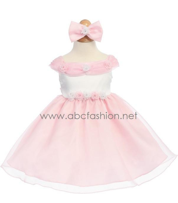 Pink Organza Baby Girl Dress with Rose Details - 7 Colors-Girls Formal Dresses-ABC Fashion