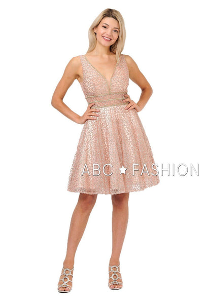 Pink Sleeveless Glitter Print Short Dress with V-Neck by Poly USA 8444-Short Cocktail Dresses-ABC Fashion