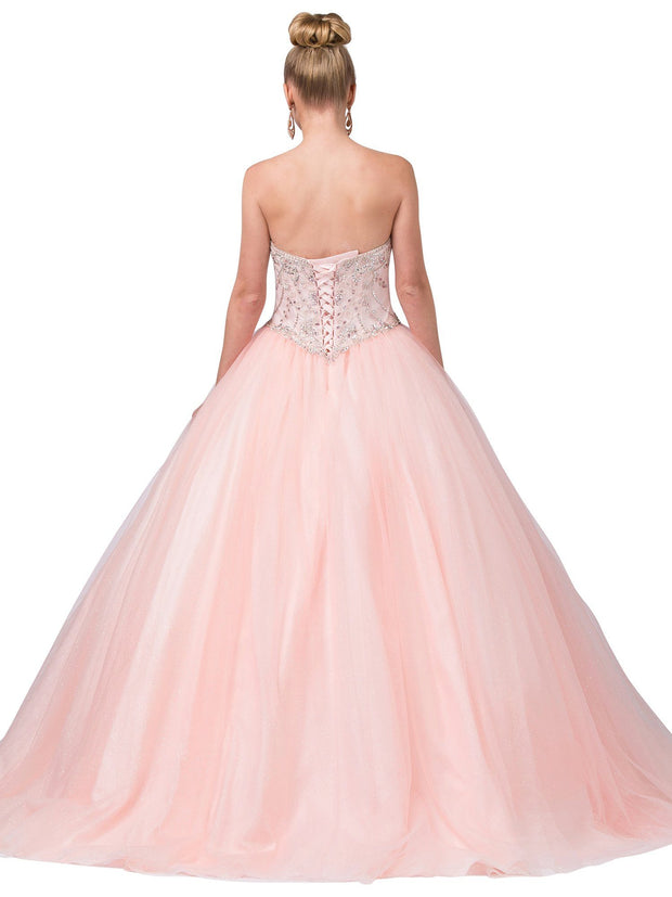 Pink Strapless Glitter Ball Gown with Beaded Top by Dancing Queen 1352