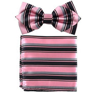 Pink/Black Striped Bow Tie with Pocket Square (Pointed Tip)-Men's Bow Ties-ABC Fashion