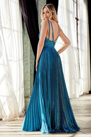 Pleated Long A-line Metallic Dress by Cinderella Divine CW088