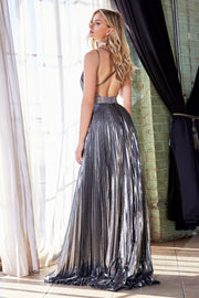 Pleated Long A-line Metallic Dress by Cinderella Divine CW230