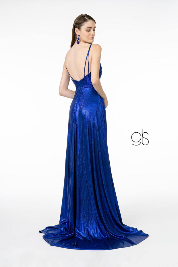 Pleated Long A-Line Metallic Dress with Slit by Elizabeth K GL2927
