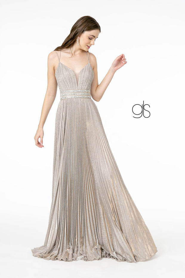 Pleated Long A-Line Metallic Glitter Dress by Elizabeth K GL2905