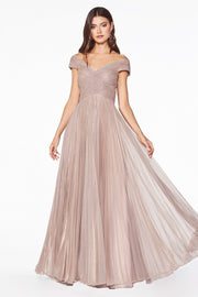 Pleated Long Cap Sleeve Metallic Dress by Cinderella Divine CJ539-Long Formal Dresses-ABC Fashion