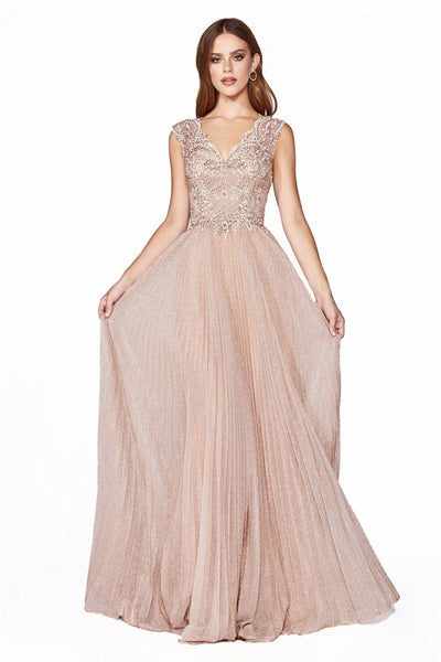 Pleated Long Cap Sleeve Metallic Lace Dress by Cinderella Divine HT011-Long Formal Dresses-ABC Fashion