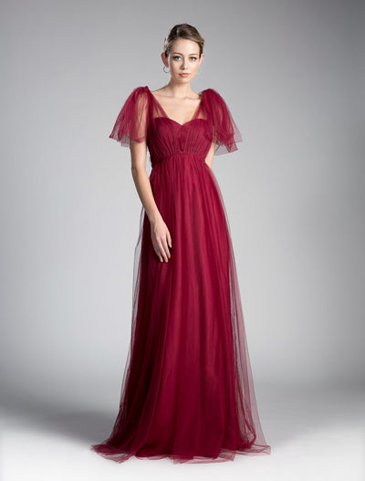 Pleated Long Convertible Tulle Dress by Cinderella Divine ET322-Long Formal Dresses-ABC Fashion