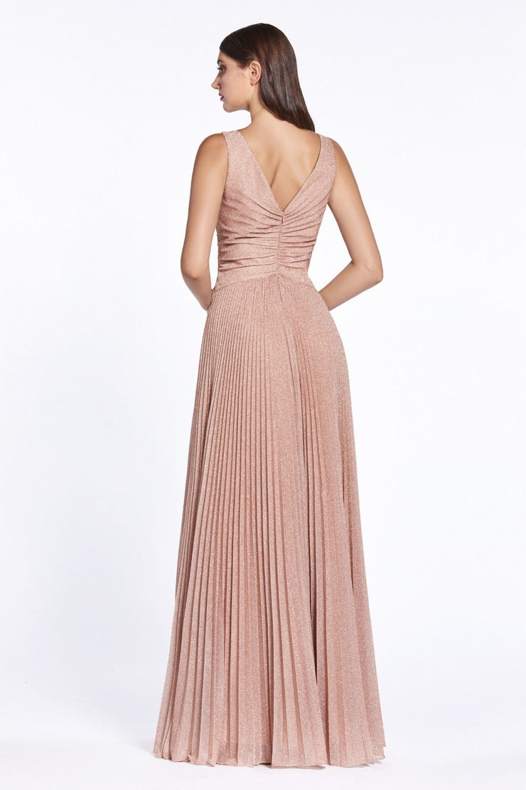 Pleated Long Glitter V-Neck Dress by Cinderella Divine J9041-Long Formal Dresses-ABC Fashion