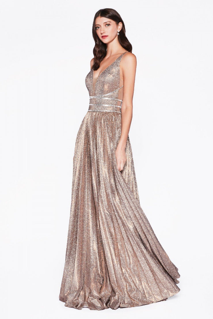 Pleated Long Illusion Glitter Dress by Cinderella Divine CM9061-Long Formal Dresses-ABC Fashion