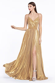 Pleated Long Metallic Dress with Slit by Cinderella Divine CJ531