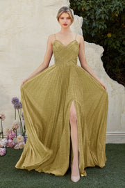 Pleated Long Metallic Glitter Dress with Slit by Cinderella Divine CJ534-Long Formal Dresses-ABC Fashion