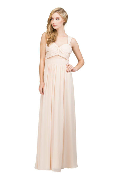 Pleated Long Sleeveless Dress with Sheer Waist by Star Box 6418-Long Formal Dresses-ABC Fashion