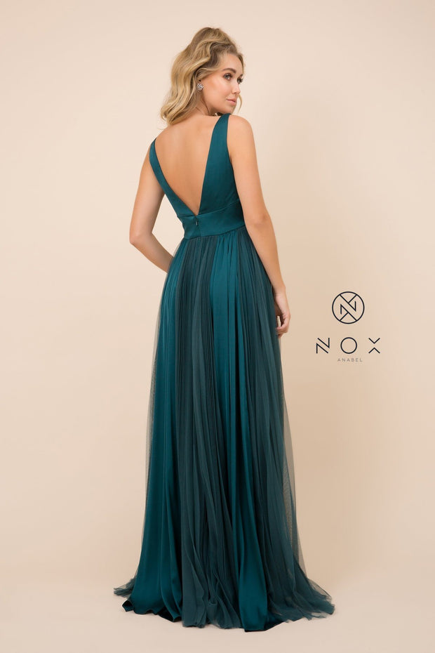 Pleated Long Sleeveless V-Neck Dress by Nox Anabel L340