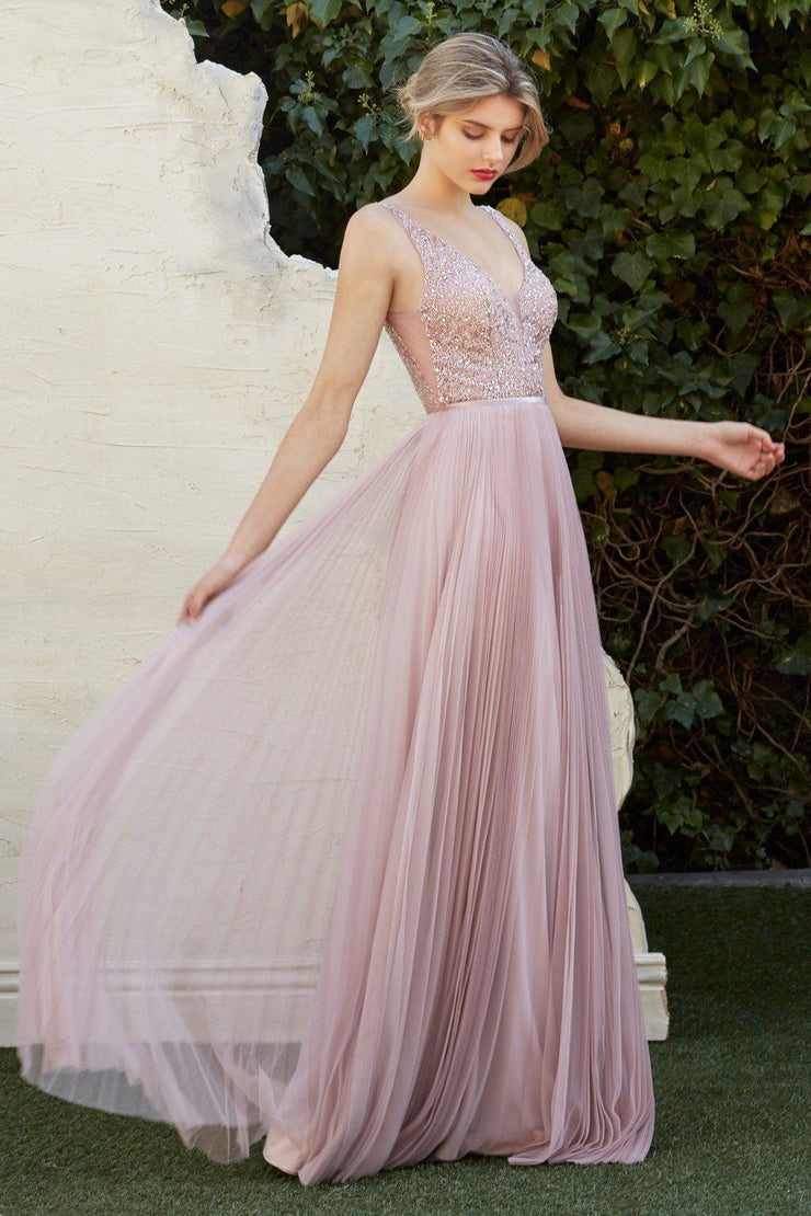 Pleated Long Tulle Dress with Beaded Top by Cinderella Divine CJ535