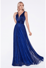 Pleated Long V-Neck Formal Dress by Cinderella Divine UT261-Long Formal Dresses-ABC Fashion