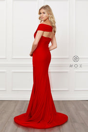 Pleated Off Shoulder Mermaid Gown by Nox Anabel E497