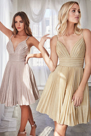 Pleated Short A-line Metallic Dress by Cinderella Divine AM391