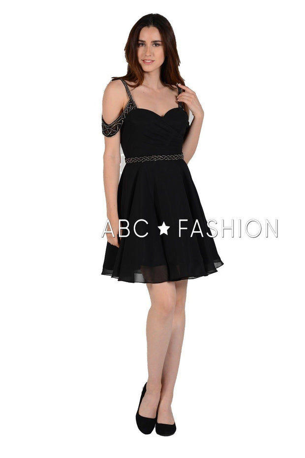 Pleated Short Cold Shoulder Dress with Beaded Straps by Poly USA 8028-Short Cocktail Dresses-ABC Fashion