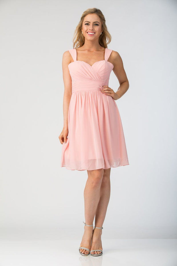 Pleated Short Sweetheart Chiffon Dress by Star Box 6426-Short Cocktail Dresses-ABC Fashion
