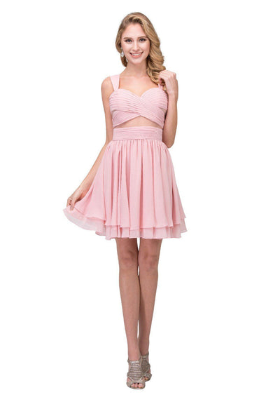 Pleated Short Sweetheart Dress with Sheer Panels by Star Box 6428-Short Cocktail Dresses-ABC Fashion