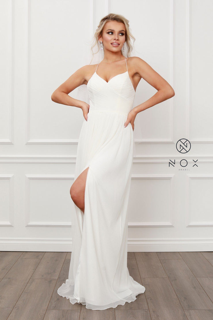 Pleated V-Neck Chiffon Gown by Nox Anabel R477