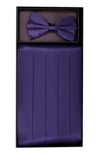 Plum Silk Satin Cummerbund and Bow Tie Set-Men's Cummerbund-ABC Fashion