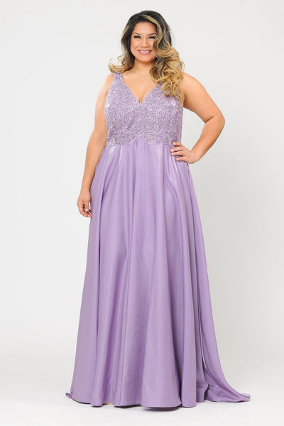 Plus Size A-line Gown with Embroidered Bodice by Poly USA W1074-Long Formal Dresses-ABC Fashion