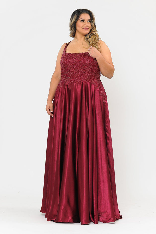 Plus Size Embroidered Long Satin A-line Dress by Poly USA W1094