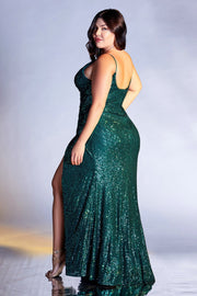 Plus Size Fitted Long Sequin Dress by Cinderella Divine CDS345C