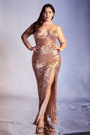 Plus Size Fitted Sequin Gown by Cinderella Divine CH180C