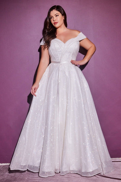 Plus Size Glitter Bridal Gown by Cinderella Divine CD214WC