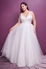 Plus Size Lace Bodice Bridal Gown by Cinderella Divine 9178WC
