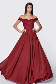 Off the Shoulder Gown with Lace Bodice by Cinderella Divine 7258-Long Formal Dresses-ABC Fashion