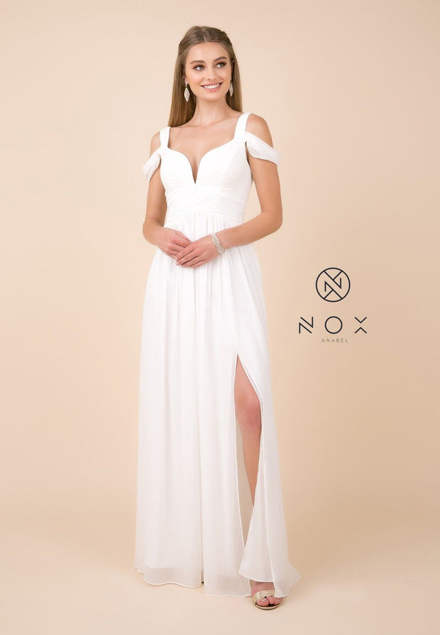 Plus Size Long A-line Cold Shoulder Dress by Nox Anabel Y277P-Long Formal Dresses-ABC Fashion