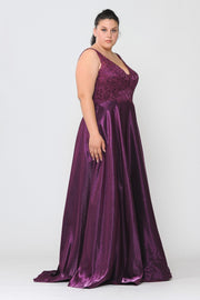 Plus Size Long Embroidered Bodice Satin Dress by Poly USA W1032