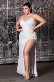 Plus Size Long Fitted Sequin Dress by Cinderella Divine CH225C