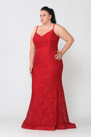 Plus Size Long Floral Lace V-Neck Dress by Poly USA W1090-Long Formal Dresses-ABC Fashion